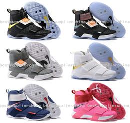 Wholesale Mens Carbon - 2016 Mens Basketball Shoes Trainers James Soldier 10 Black Gold Athletic Sneakers Carbon Fiber X Men Soldiers 10s Sports Shoes Size 40-46