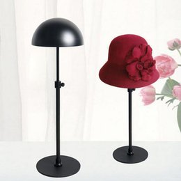 Wholesale Clothes Display Stands - Black Metal Hat Display Stand Rack Adjustable Hat Holder Cap Wig Exhibition For Boutique Store Free Shipping ZA4190