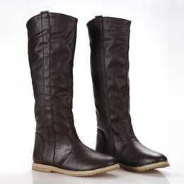 Wholesale Size Boots Korean - Wholesale-New flat Knee High Boots Casual Shoes for Women South Korean Spring Boots women's fashion knee high boots shoes large size 34-43