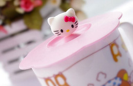 Wholesale kawaii bamboo - Wholesale- Kawaii Hello Kitty 10CM Silicone Cup Lid Cover Mug Mat ; Dustproof Water Drinking Cup Mug's Lid Cover TOP MAT Pad