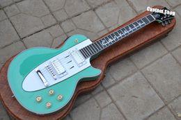 Wholesale Electric Guitar Flag - Custom Shop 1960s Corvette Chevrolet LP Mint Green Electric Guitar Cross Flags Headstock Chromoe Hardware