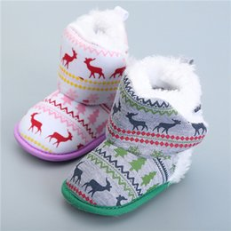 Wholesale Knitted Calf Boots - Winter Boots Girl Baby Boots Snow Shoes Warm Knitted Baby Shoes Christmas Elk Snow Boots Warm Winter Bootie Toddler Shoes Fit Unisex Boots