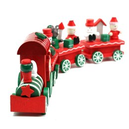 Wholesale Children Mini Train - Kid Lovely 4 Piece Little Train Wood Christmas Train Ornament Decoration Decor Gift for Children Birthday Xmas Gift