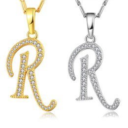 Wholesale R Pendants - NAKELULU Capital Initial R Letter Necklace & Pendant Gold Color Cubic Zirconia Crystal Alphabet Jewelry For Women Fashion