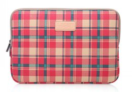Wholesale Notebook Grid - Fashion grid Notebook Laptop Sleeve Case Carry Bag Ipad case bag-red