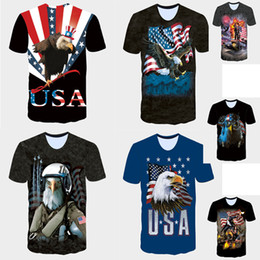 Wholesale Browning Eagle - 2017 Summer new 3D T shirts trump shirts mens tshirt American USA flag Eagle soldier printed men's Short Sleeve T-Shirts