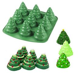 Wholesale Christmas Tree Silicone Mould - High-quality 3D Christmas Tree Fondant Cake Bread Decorating Sugarcraft Silicone Pop Soap Mold Mould DIY Tools