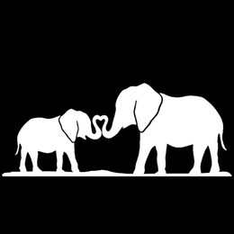 Wholesale Elephant Car Stickers - Elephant Mom & Baby Nose Rolled Together Family Home Heart Car Sticker for Bumper Laptop Kayak Car Styling Vinyl Decal JDM