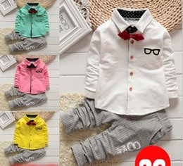 Wholesale collared shirt for baby - New children's clothing Children Suit Boys t shirt Outfit bow tie for baby boys shirt+ stripe casual pants Newborn boys cotton suit Wear