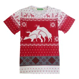 Wholesale Funny Christmas Flash - New Fashion women men Christmas T-Shirt Print Deer 3d T Shirt Harajuku T Shirt Funny snow Christmas Deer Tee Shirts 17310