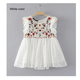 Wholesale Flower Blouse Puff Sleeves - Wholesale- 2017women fashion flower embroidery sleeveless loose slim blouses shirt brand tops black and white color femininas blusas SB1051