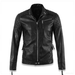 Wholesale Cotton Faux Leather Jacket - Wholesale- Hot ! High quality new Spring fashion leather jackets men, men's leather jacket brand motorcycle leather jackets skull