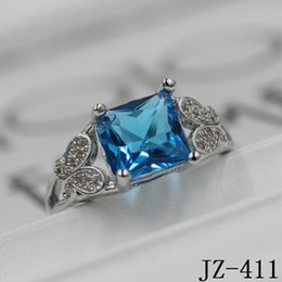 Wholesale Light Blue Stone Jewelry - Wedding Rings 925 Silver Jewelry Light Blue Cz zirconia Rings for Women Charms Jewelry Statement Ring with White Crystal