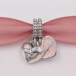 Wholesale Mother Daughter Jewelry Pendants - Mothers Day 925 Silver Mother & Daughter Hearts Pendant Charms Fits European Pandora Style Jewelry Bracelets & Necklace 792072EN40 Mom Gifts