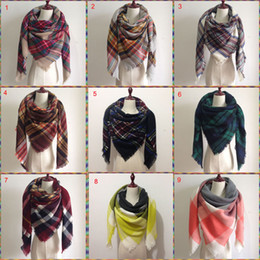 Wholesale 2017 Women blanket Scarf Cozy Oversized Tartan Tassel Scarf New Wrap Grid Shawl Check Pashmina Cashmere acrylic Lattice Neck plaid Stole