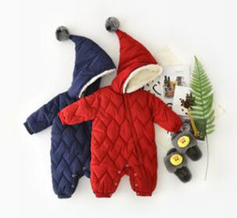 Wholesale Newborn Baby Winter Jacket - Toddler kids rompers Baby girls thicken pompon hooded warm jumpsuit Winter Infants zipper long sleeve Down jacket Newborn cute clothes C2212