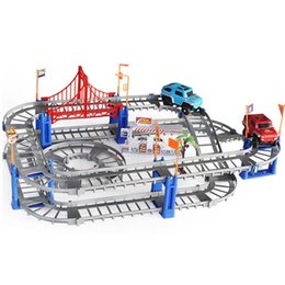 Wholesale Toy Tracks Cars - New Design Electronic Track Car DIY Puzzle Toy Children Toy Easy Assembly Car Rail Random Color ABS Kids Train Track VE0378