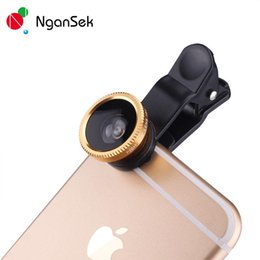 Wholesale Ipad Microscope - 3 in 1 iphone 6 6s lens set fisheye samsung microscope fish-eye lens telescope wide angle lens for all samsung iphone ipad lg with clip