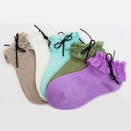 Wholesale White Socks Ruffles - Wholesale-Hot Princess Girl Cute Sweet Women Ladies Vintage Lace Ruffle Frilly Ankle Socks 5 Colors Free Shipping