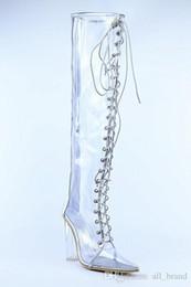 Plastik knie high heel stiefel online-2016 Frauen Oberschenkel hohe Gladiator Sandale PVC Stiefel über Knie hohe dicke Ferse Booties Lace-up Box Ferse lange Stiefel Kunststoff Damen Kleid Schuhe