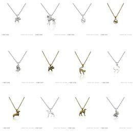 Wholesale Dachshund Pendant - Antique Silver Plated Dalmatian Copper Dachshund Dog Cat Charm pendants Chain Birthday Necklaces For Women Men Platinum Metal Necklaces