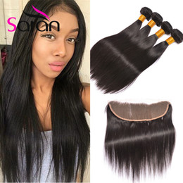 Wholesale Mixed Bundle Hair Closure - Peruvian Straight Hair Extensions With 13x4 Lace Frontal Closure Black Color Peruvian Straight Hair 3 Bundles With Top Lace Frontal Closures