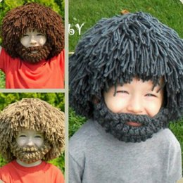 Wholesale Crocheted Boys Stocking Hat - Stock 1-8 Years Old Funny Wig beard creative Hat Winter For Children Kids Boys Girls Cosplay Costume Cap Photography Props Gray Brown hat