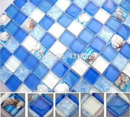 ¡Nuevo! resina azul con mosaico incrustado de mosaico de shell, mosaico de pared de pasillo de ducha de baño, azulejo interior desde fabricantes