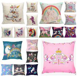 Wholesale Custom Design Homes - 54 design Animal Unicorn Print Custom Cushion Cover Party Supplies Cartoon Throw Pillow Case sofa Chair Decoration 45*45cm KKA3104