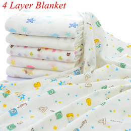 Wholesale Infant Winter Blankets - INS Xmas Newborn Infant Play Mat 4 Layers Baby Swaddle Blanket Winter Baby Blankets Cotton Baby Bedding Newborn Receiving Blanket