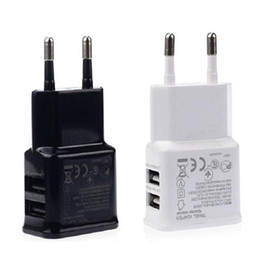 Wholesale Adapter Plug For China - Dual Ports USB AC Wall Charger 5V 2A EU Plug Power Adapter for Universal smartphone android mobile phone made in China