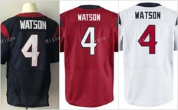 Wholesale Rugby Jersey Navy - cheap Men's new 4# Deshaun Watson football jerseys 100% stitched Navy Blue White Red 2017 Draft Pick Game rugby Jersey