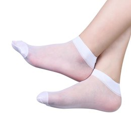 Wholesale White Silk Socks - Wholesale-2016 Summer 10 pairs Casual Solid Color Women Ultrathin Transparent Crystal Elastic Silk Short Socks Amazing Apr 26