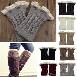 Wholesale beige lace leggings - Womens Leg Warmers Cycling Leg Warmers Fashion Womens Crochet Knit Lace Trim Leg Warmers Cuffs Toppers Boot Socks Leggings