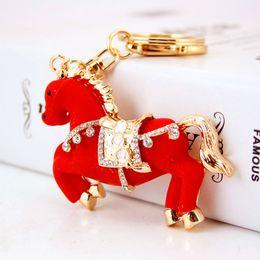 Wholesale Korean Style Key Ring - Korean Style Fashion Accessories Full Diamond Keychains Animal Horse Pendant Crystal Keyrings Metal Key Rings Wholesale