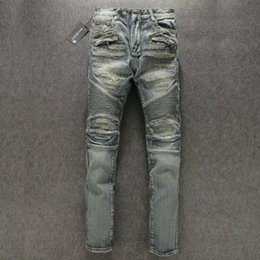Wholesale Cool American Brands - 2017 Paris Designer Jeans Cool Mens Destoryed Denim Biker Jeans Ripped Jean with zipper Brand New with Tags