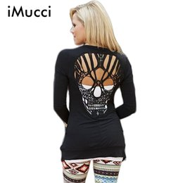Wholesale Skull Knit Cardigan - Wholesale- Skull Hollow Out Women Sweaters Knitted Long Sleeve Cardigans Spring Autumn Thin Cardigans Sexy Blusas Mujer Body Top Plus Size