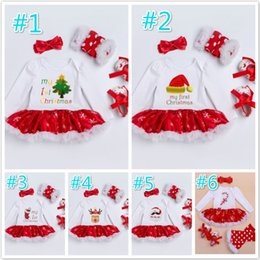 Wholesale Girl Pajamas Bow - New Baby Girls Christmas Halloween Outfit Kids Girls 4 Pieces set Rompers + Shoes + Tights + bow Headband New Baby kids Clothing sets A7713