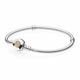 Wholesale European Bead Two Tone - Authenetic 925 Sterling Silver Bead Charm PAN MOMEMTS Two-Tone Signature Snake Chain Beads Fit Pandora Bracelet Bangle Jewelry HKA9050
