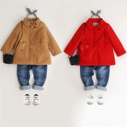 Wholesale Girl Children Princess Coat - Kids Girls Wool Coat Baby Girls Embroidery Trench Coat 2017 Winter Infant Princess Pocket Jackets Outwear Children Clothing B959