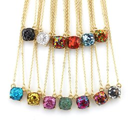 Wholesale Rainbow Chokers - 14 Colors Option Galaxy Square Glitter Necklace Women Rainbow Opal Choker Necklace gold color brand jewelry for women Wholesale