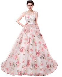Wholesale Floor Length Floral Chiffon - 2017 Floral Print Evening Dresses A-Line Floor Length Lace up Back Scoop Lace Applique Long Prom Party Gown Custom Made