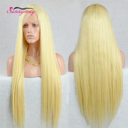 Wholesale Blonde Wig Natural Looking - 613 Blonde Wigs Natural Looking Long Blonde Lace Front Wigs Straight Synthetic Lace Front Blonde Wig Heat Resistant