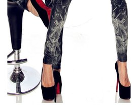 Wholesale Drawing Leggings - Seamless imitation cowboy tattoo coloured drawing or pattern Clutter printed leggings tattoo leggings