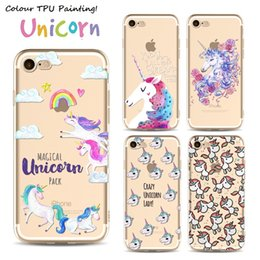 Wholesale Cute Iphone Covers Wholesale - For iPhone 7 cases cute Cartoon unicorn Painting transparent Soft ultra thin TPU Case For iPhone 5S 6S 7 Plus Back protective shell Cover