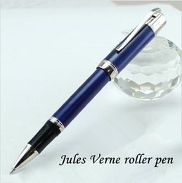 Wholesale Unique Writing Pens - Luxury MB Jules Verne Special Edition blue ocean rollerball pen Unique stationery office suppliers metal pens for writing