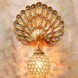 Wholesale Peacock Lamps - creative peacock wall lamp study bedside staircase living room aisle crystal free shipping MYY1612