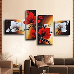 Wholesale red wall art - Modern Abstract Flower Oil Painting Hand Painted Red White Wall Art Canvas 4 Panel Home Decoration Picture For Living Room Sale