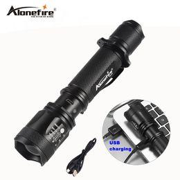 Wholesale Usb Zoom - AloneFire TK200 lanterna powerful led cree xml t6 usb zoom flashlight tactical torch flash light self defense 18650 battery