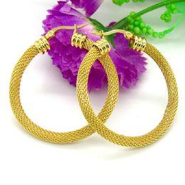 Wholesale Wholesale Fashion Mesh Hoop Earrings - 3 Size Gold Color Women Gift Sale Fashion Jewelry Stainless Steel Mesh Wives Round Fancy Hoop Earrings